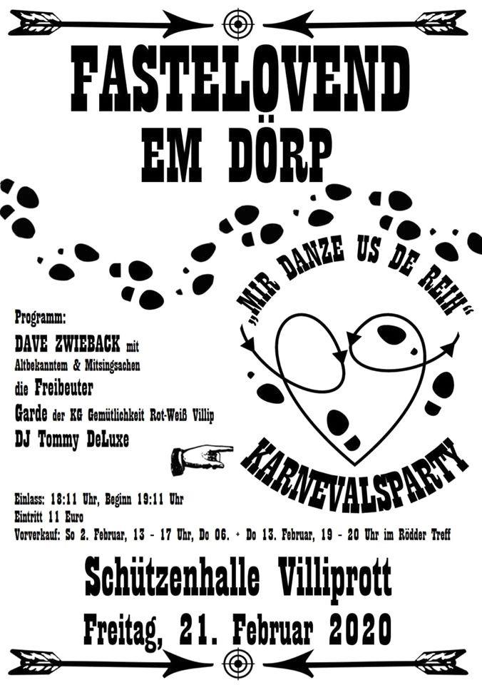 """Fastelovend em Dörp – Party im Villiprotter """"Schützenich"""" Wachtberg, den 20 Januar 2020. In der Villiprotter Schützenhalle heißt es am Karnevalsfreitag wieder """"Fastelovend em Dörp"""" für alle Jecken aus Villip, Villiprott, Holzem und Pech."""
